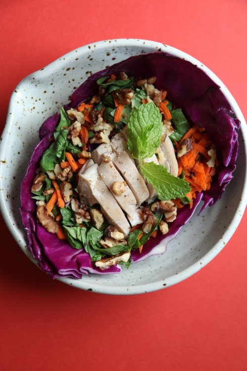 RED CABBAGE CHICKEN SALAD BOWL WITH WALNUTS & FRESH MINT