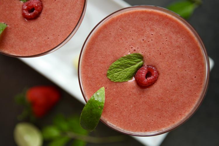 Strawberry Rhubarb Margarita for Menopause Symptoms like Night Sweats